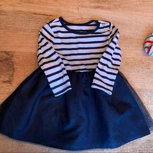 Old Navy Navy Blue and White striped dress with tulle skirt